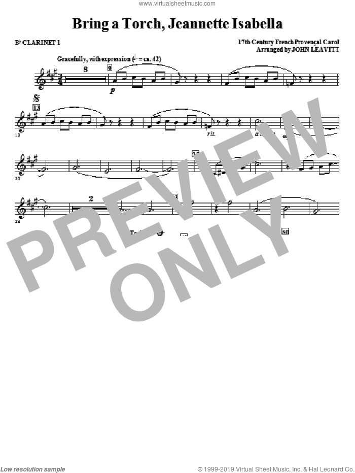 Bring a Torch, Jeanette Isabella sheet music for orchestra/band (Bb clarinet 1) by John Leavitt and Miscellaneous, intermediate skill level