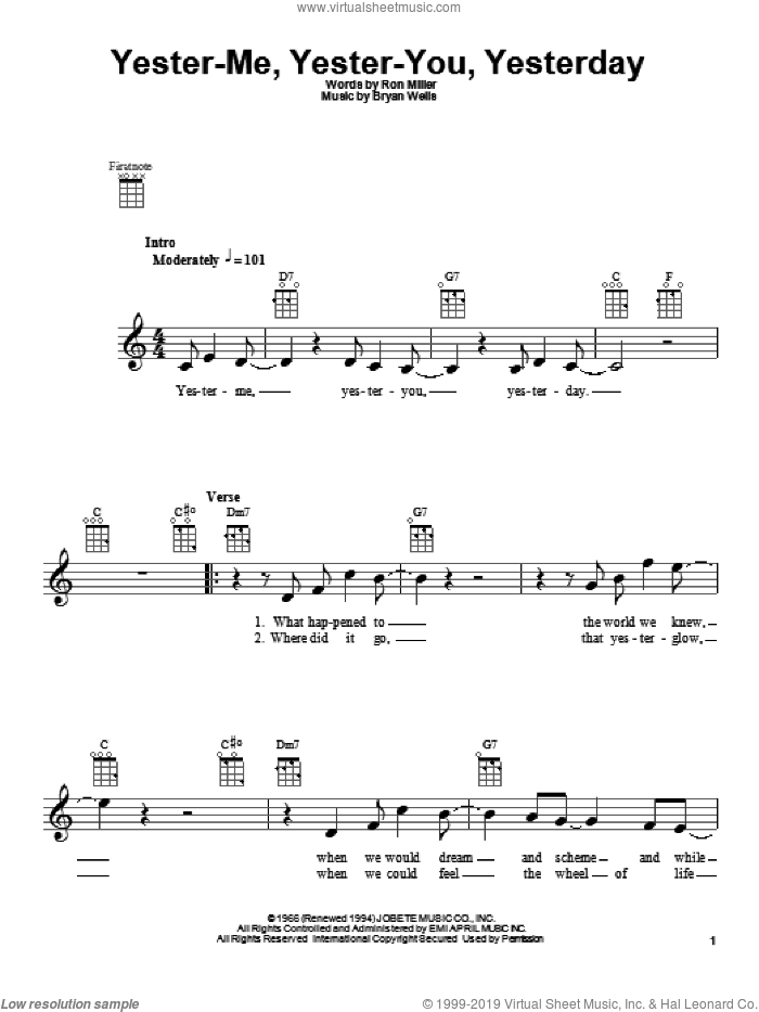 Yester-Me, Yester-You, Yesterday sheet music for ukulele by Stevie Wonder and Ron Miller. Score Image Preview.