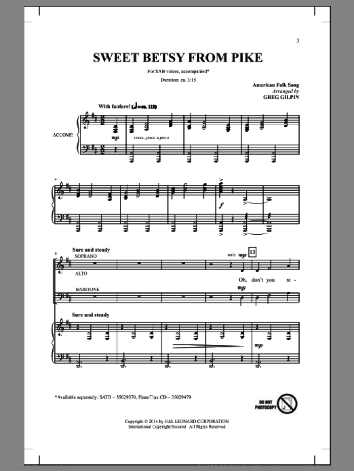 Sweet Betsy From Pike sheet music for choir and piano (SAB) by Greg Gilpin. Score Image Preview.