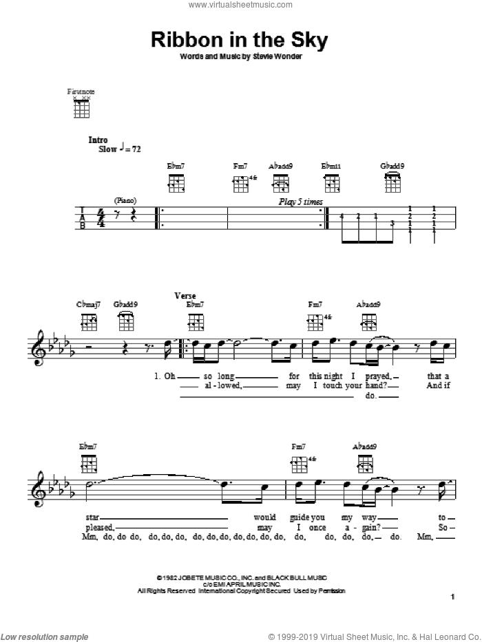 Ribbon In The Sky sheet music for ukulele by Stevie Wonder, intermediate skill level