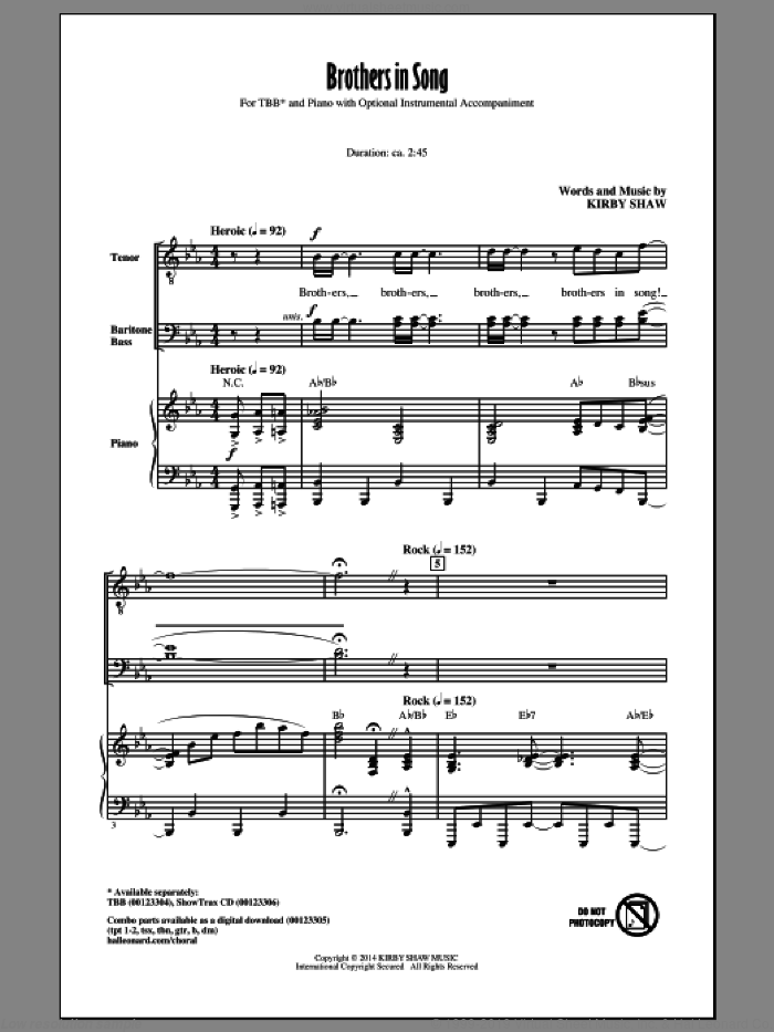 Brothers In Song sheet music for choir and piano (TBB) by Kirby Shaw. Score Image Preview.
