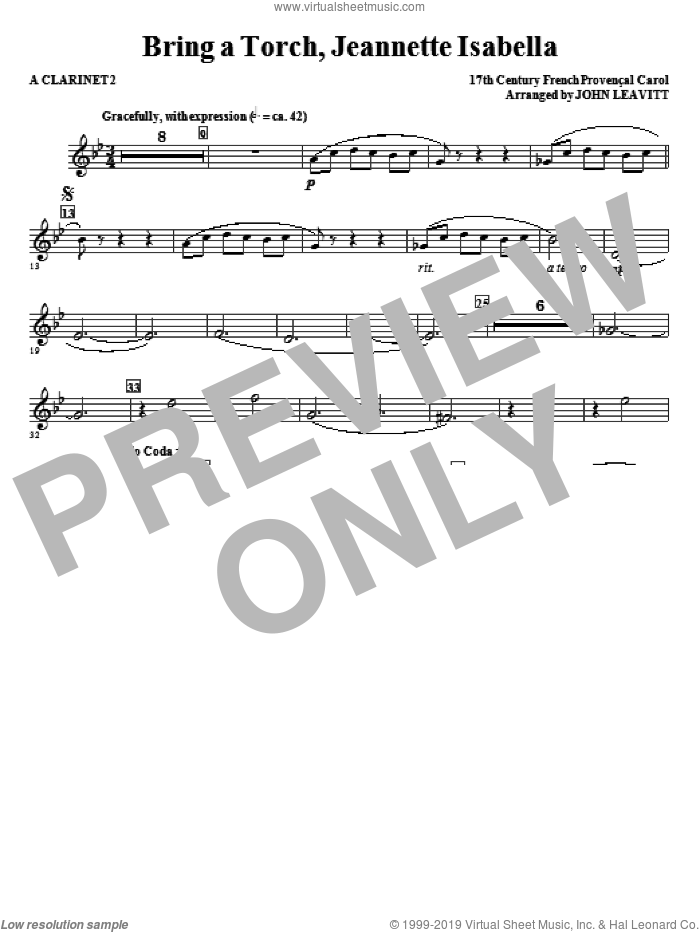 Bring a Torch, Jeanette Isabella sheet music for orchestra/band (a clarinet 2) by John Leavitt and Miscellaneous, intermediate skill level