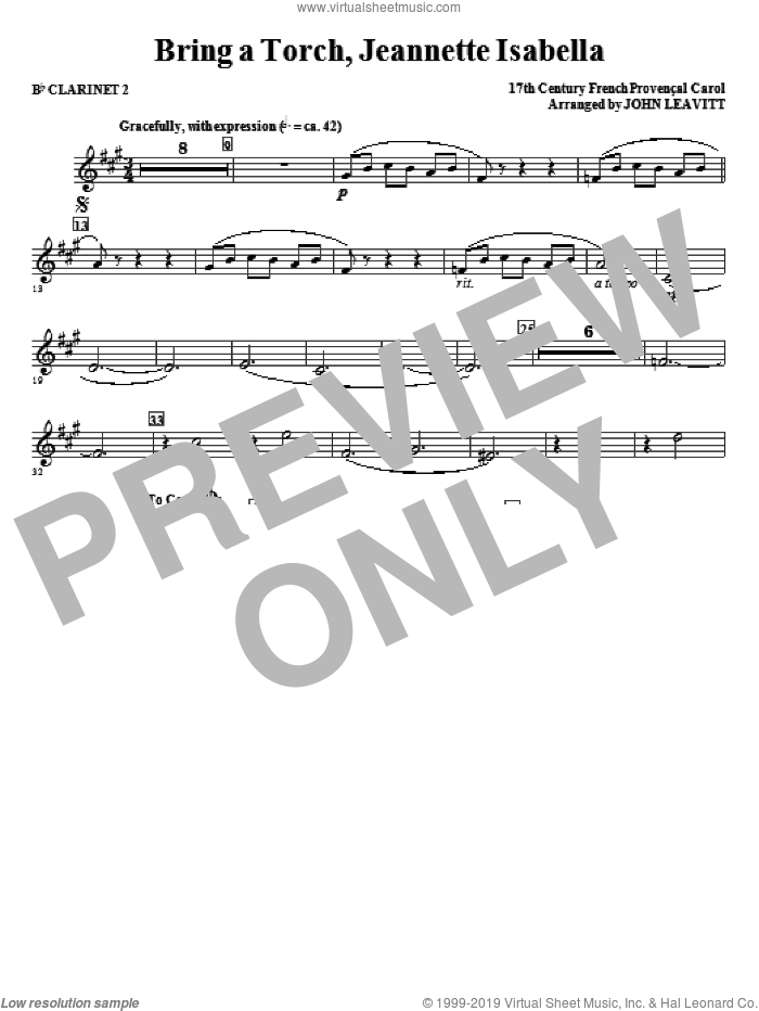 Bring a Torch, Jeanette Isabella sheet music for orchestra/band (Bb clarinet 2) by John Leavitt and Miscellaneous, intermediate skill level