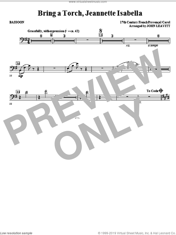 Bring a Torch, Jeanette Isabella sheet music for orchestra/band (bassoon) by John Leavitt and Miscellaneous, intermediate skill level