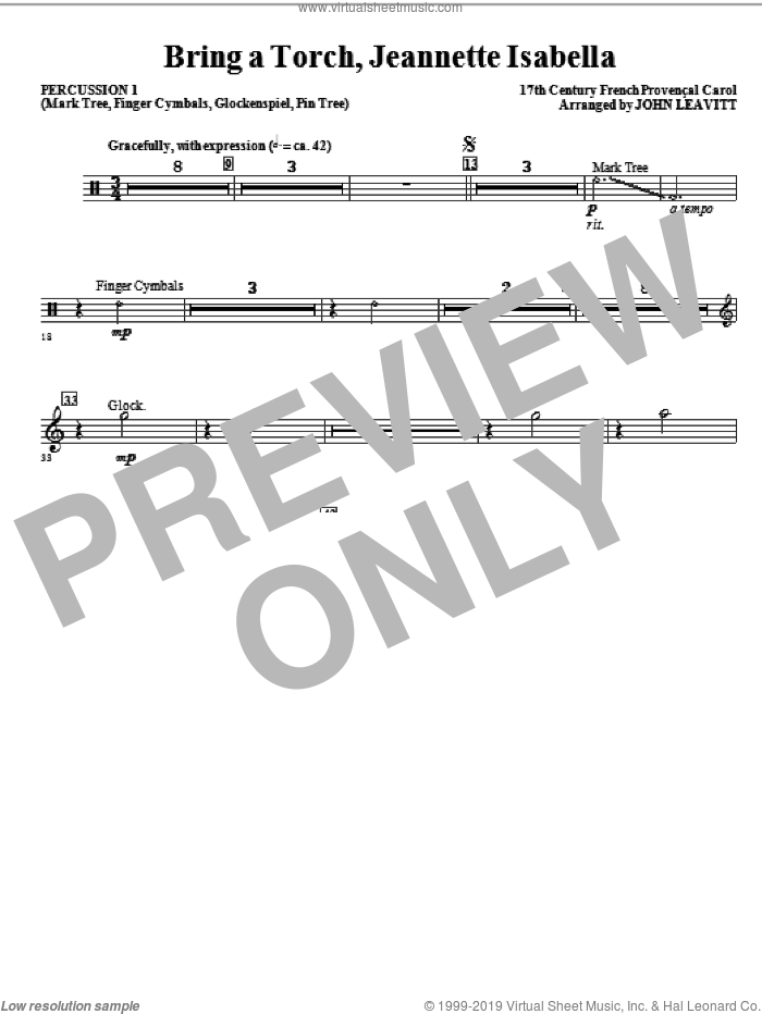 Bring a Torch, Jeanette Isabella sheet music for orchestra/band (percussion 1) by John Leavitt and Miscellaneous, intermediate skill level