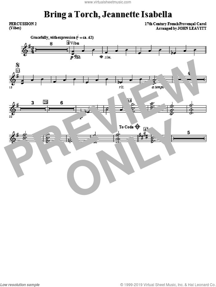 Bring a Torch, Jeanette Isabella sheet music for orchestra/band (percussion 2) by John Leavitt and Miscellaneous, intermediate skill level