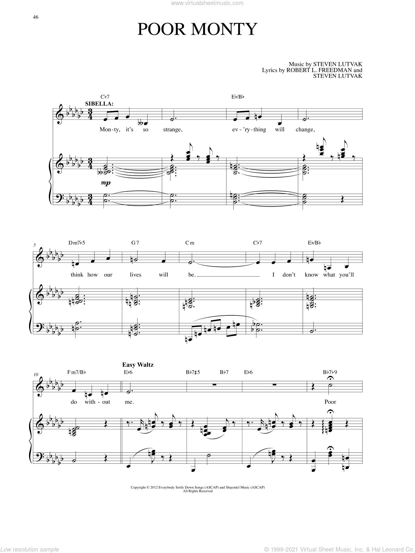Poor Monty sheet music for voice and piano by Robert L. Freedman. Score Image Preview.