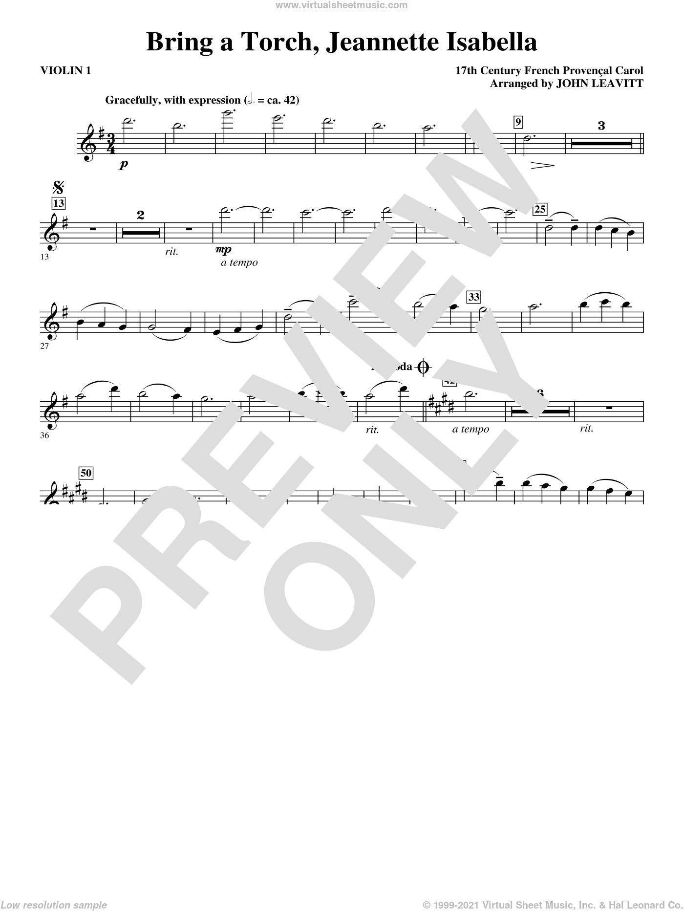 Bring a Torch, Jeanette Isabella sheet music for orchestra/band (violin 1) by John Leavitt and Miscellaneous, intermediate skill level