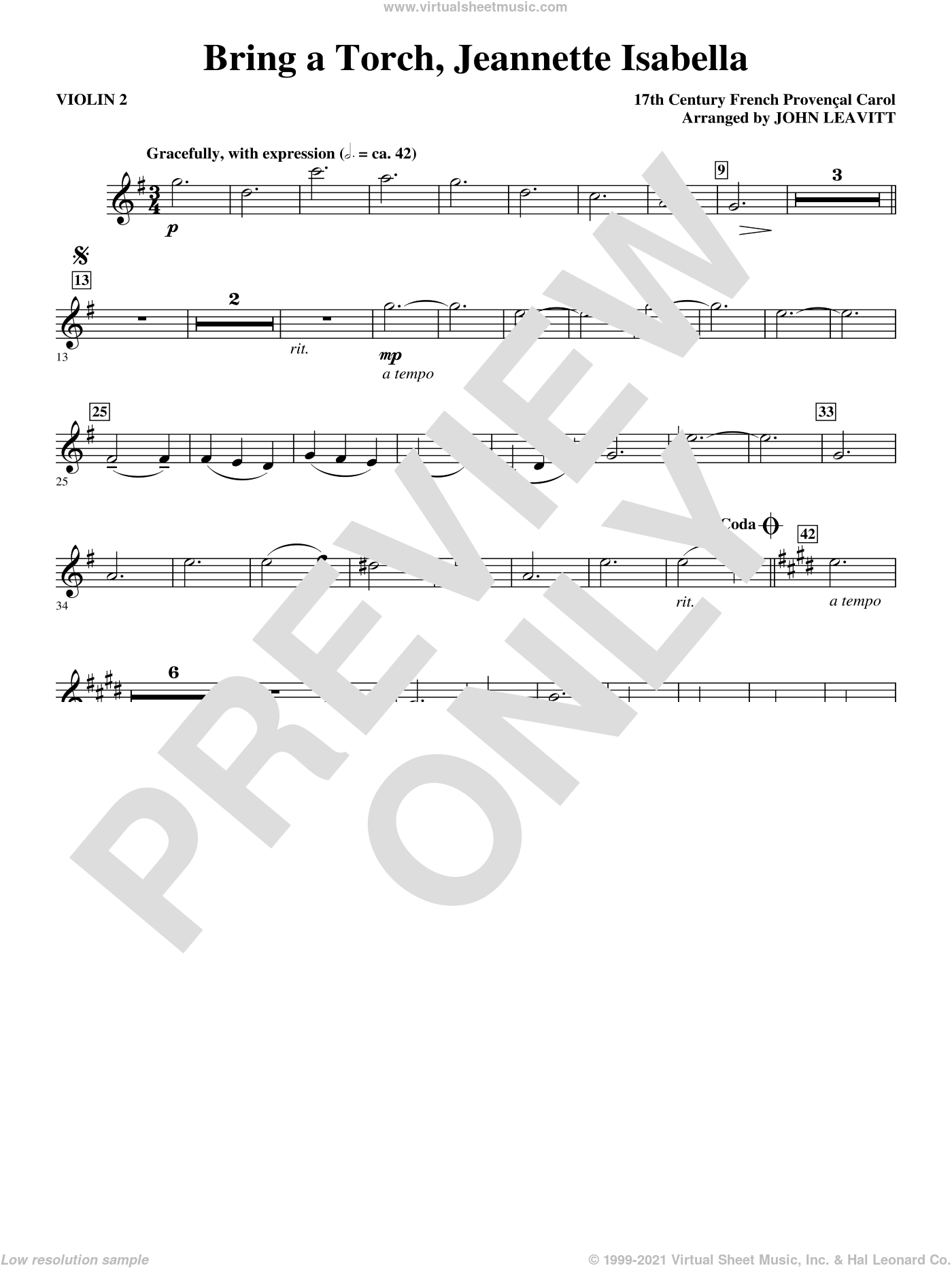 Bring a Torch, Jeanette Isabella sheet music for orchestra/band (violin 2) by John Leavitt and Miscellaneous, intermediate skill level