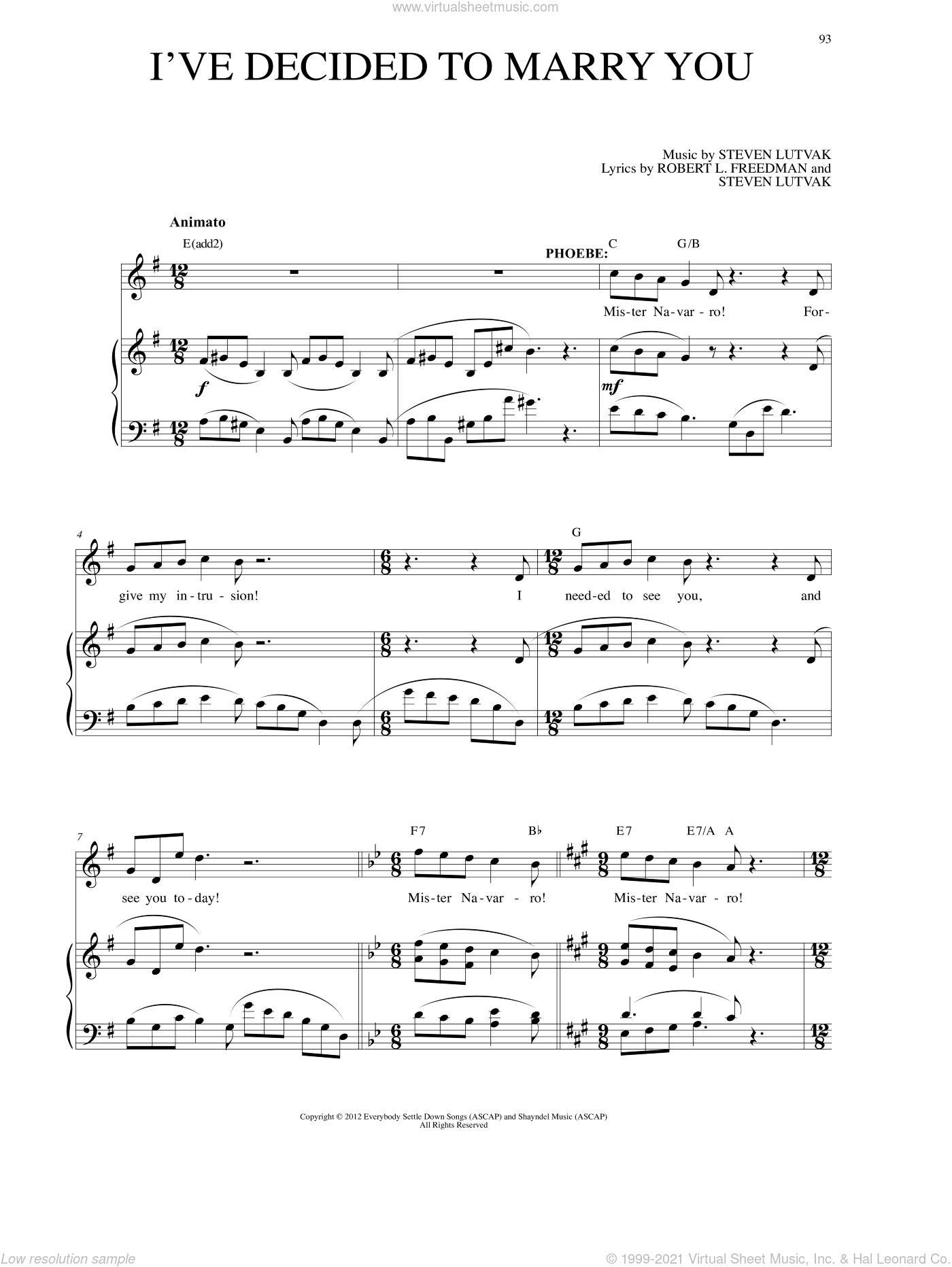 I've Decided To Marry You sheet music for voice and piano by Steven Lutvak, intermediate. Score Image Preview.