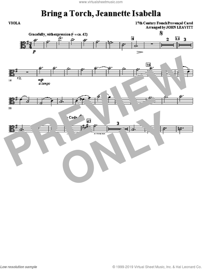 Bring a Torch, Jeanette Isabella sheet music for orchestra/band (viola) by John Leavitt and Miscellaneous, intermediate skill level