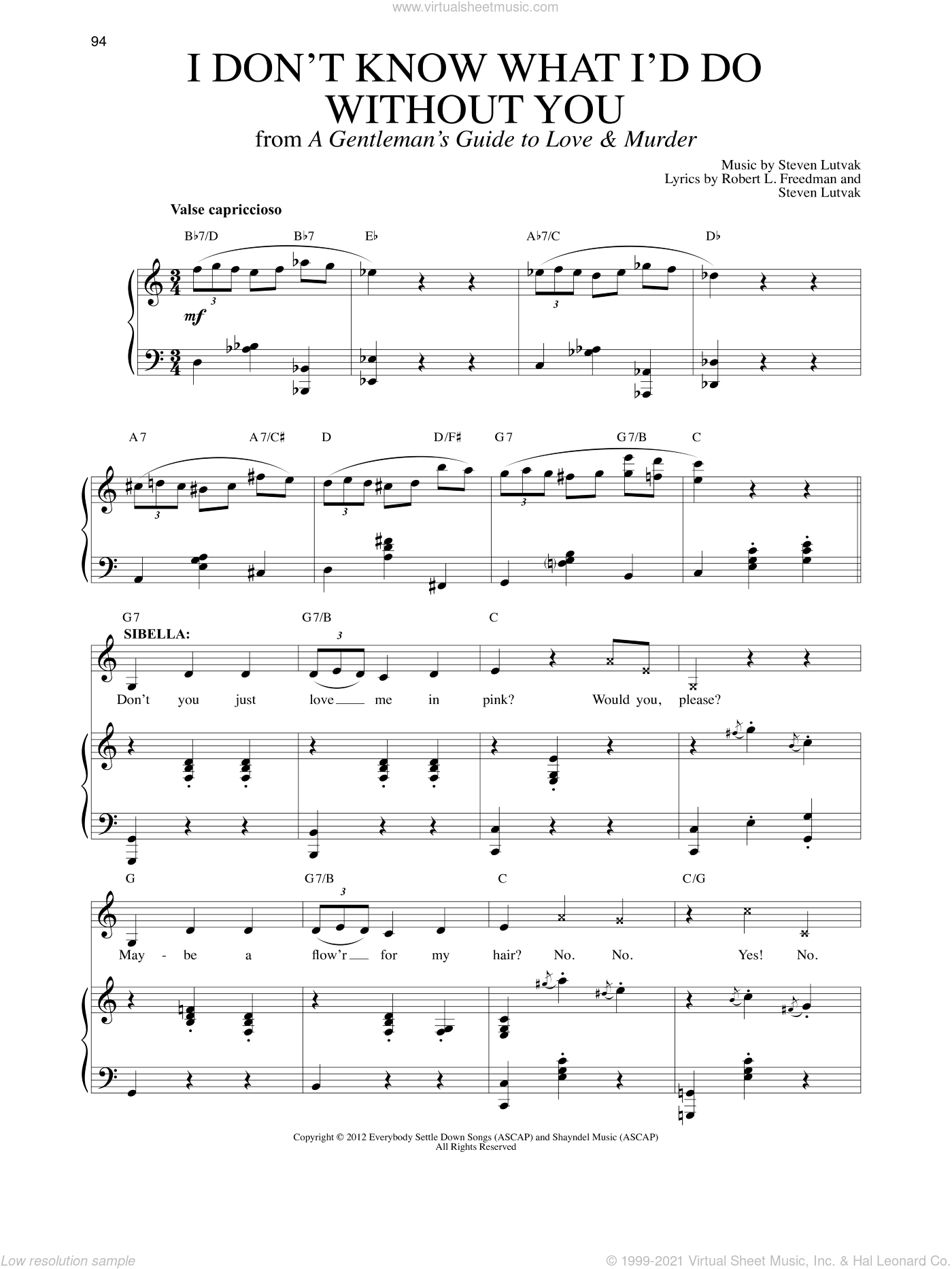 I Don't Know What I'd Do Without You sheet music for voice and piano by Steven Lutvak and Robert L. Freedman, intermediate skill level