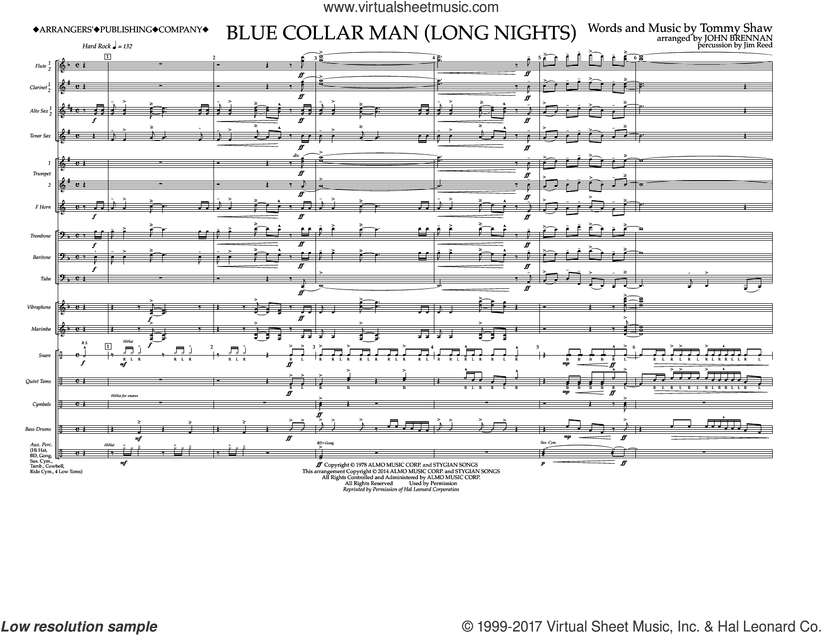 Blue Collar Man (Long Nights) (COMPLETE) sheet music for marching band by Styx, John Brennan and Tommy Shaw, intermediate. Score Image Preview.