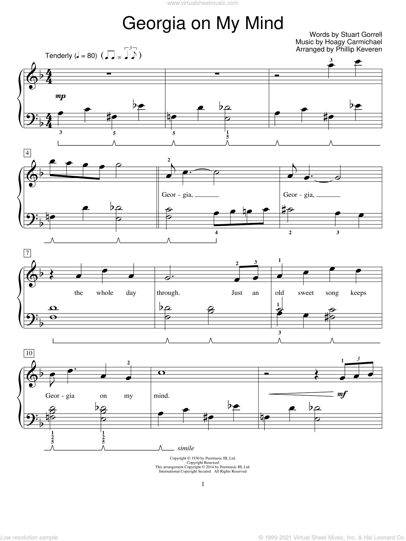 Georgia On My Mind, (beginner) sheet music for piano solo (elementary) by Hoagy Carmichael, Mona Rejino, Phillip Keveren, Ray Charles, Robert Vandall, Willie Nelson, Miscellaneous and Stuart Gorrell, beginner piano (elementary)