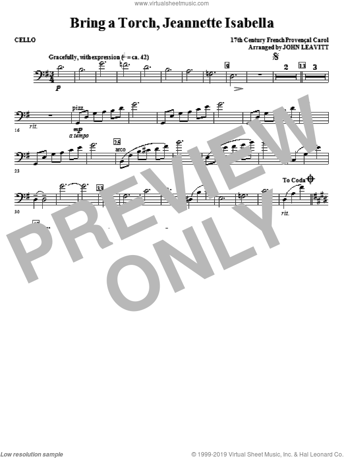 Bring a Torch, Jeanette Isabella sheet music for orchestra/band (cello) by John Leavitt and Miscellaneous, intermediate skill level