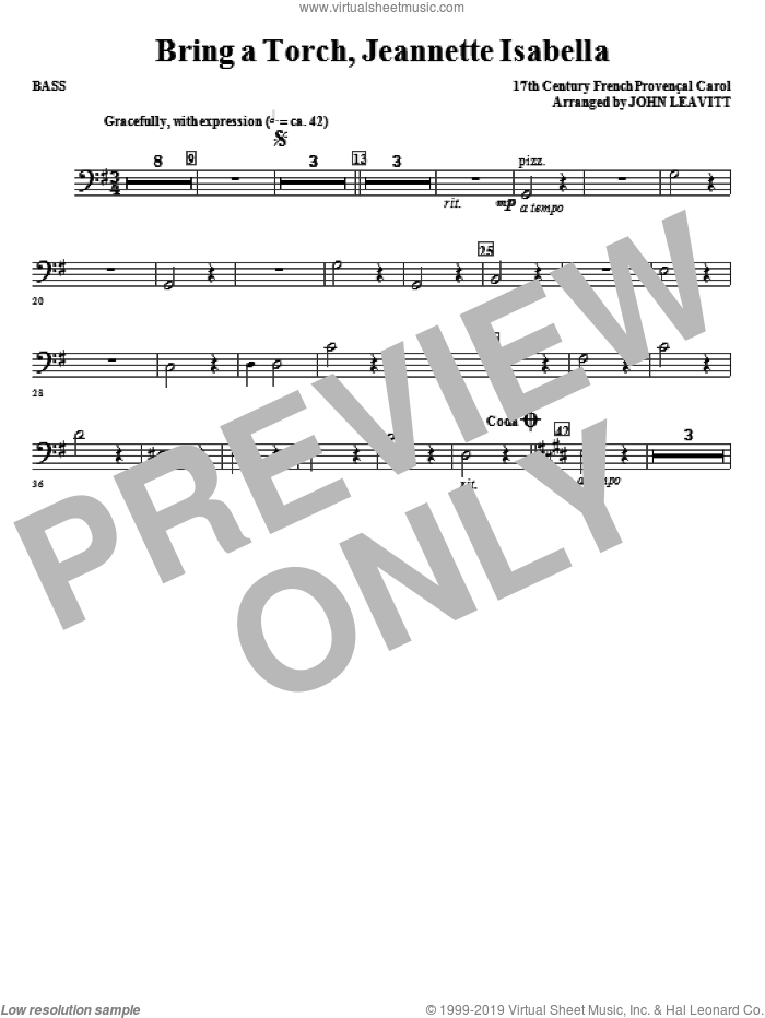 Bring a Torch, Jeanette Isabella sheet music for orchestra/band (bass) by John Leavitt and Miscellaneous, intermediate skill level