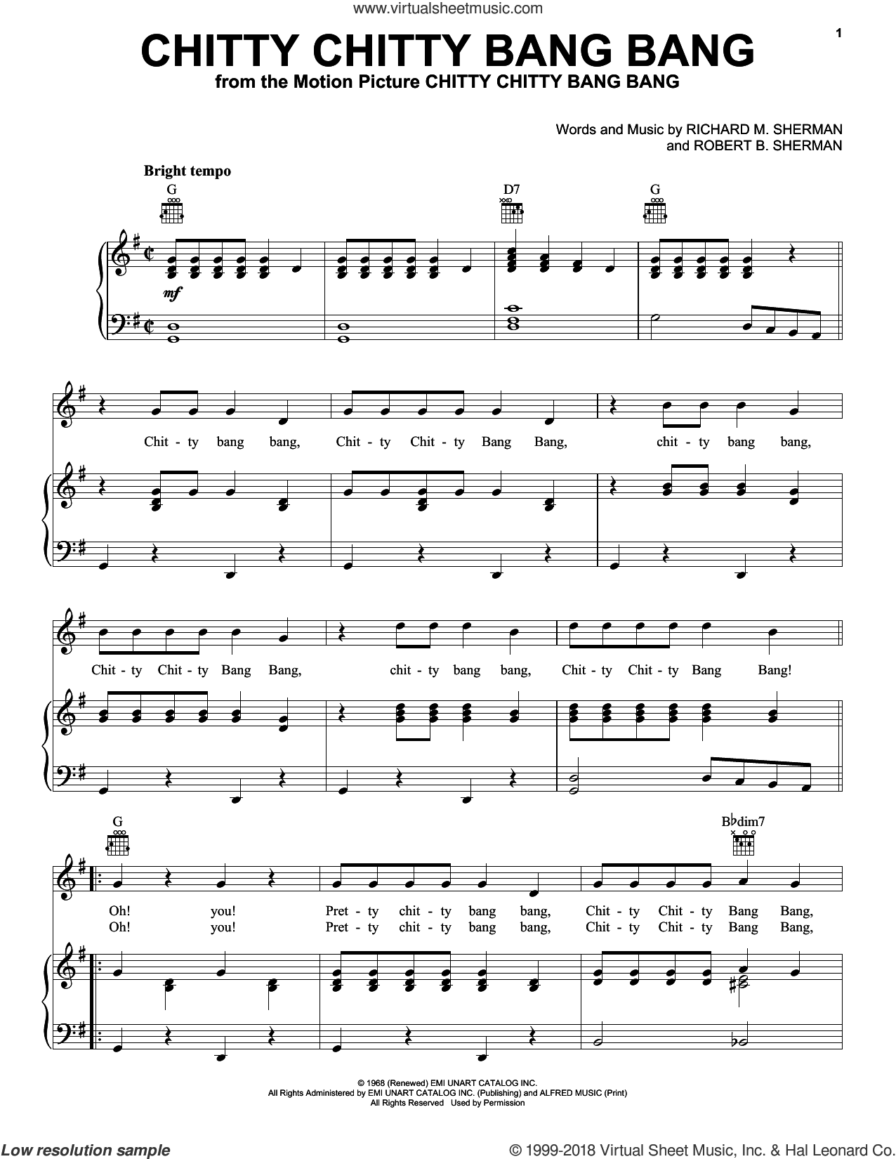 Chitty Chitty Bang Bang sheet music for voice, piano or guitar by Richard M. Sherman, Paul Mauriat and Robert B. Sherman, intermediate skill level