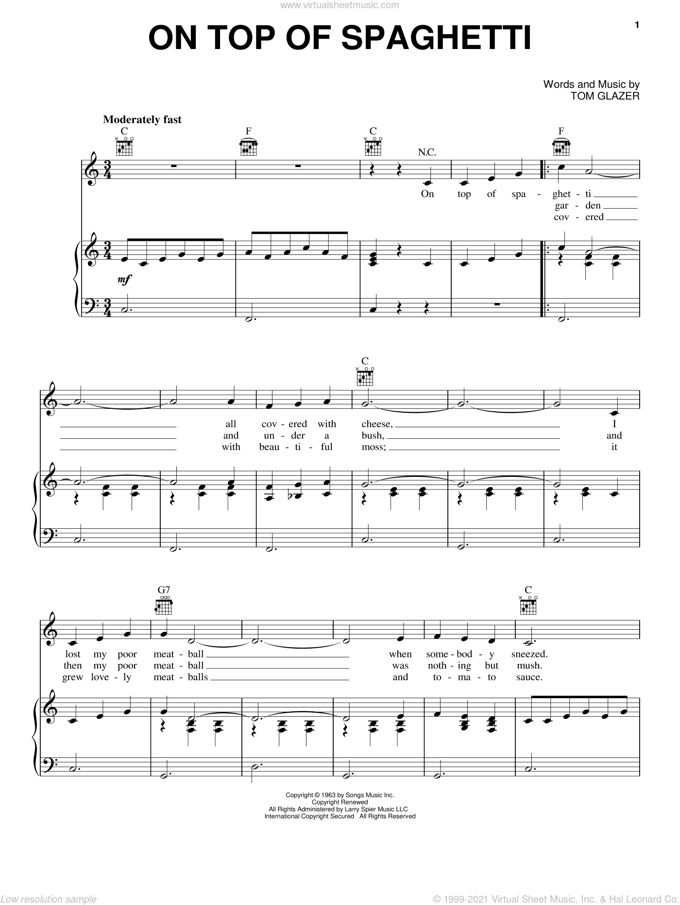 On Top Of Spaghetti sheet music for voice, piano or guitar by Tom Glazer. Score Image Preview.