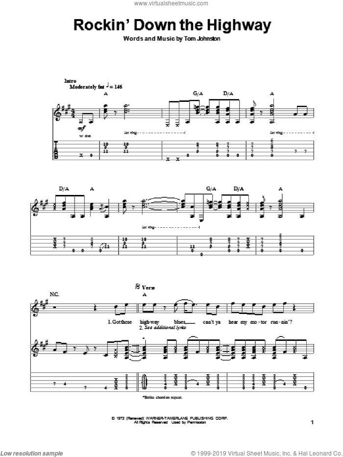 Rockin' Down The Highway sheet music for guitar (tablature, play-along) by The Doobie Brothers and Tom Johnston, intermediate skill level