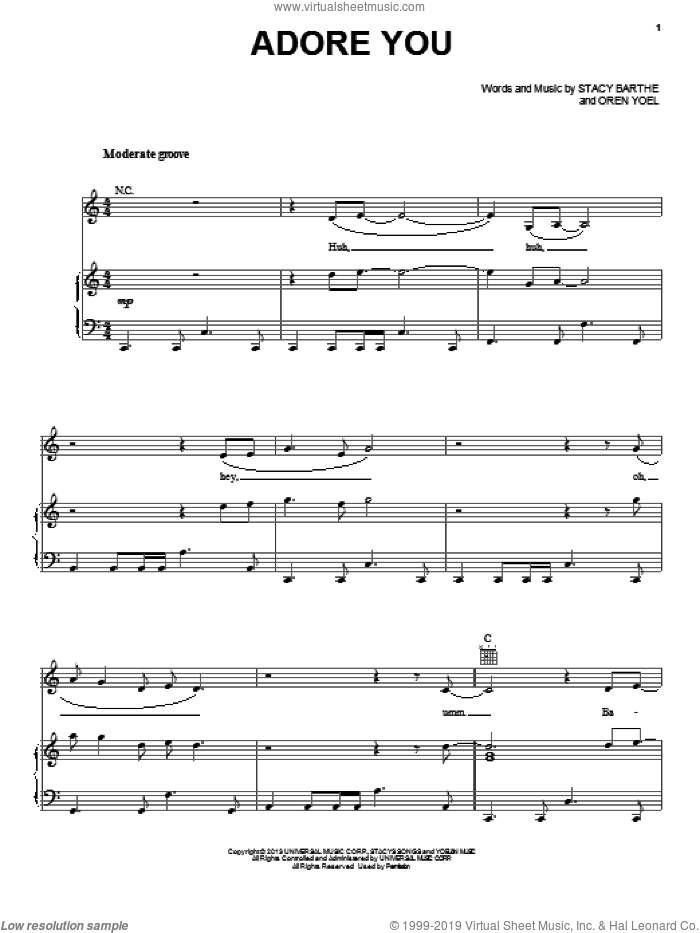 Adore You sheet music for voice, piano or guitar by Miley Cyrus, Oren Yoel and Stacy Barthe, intermediate skill level