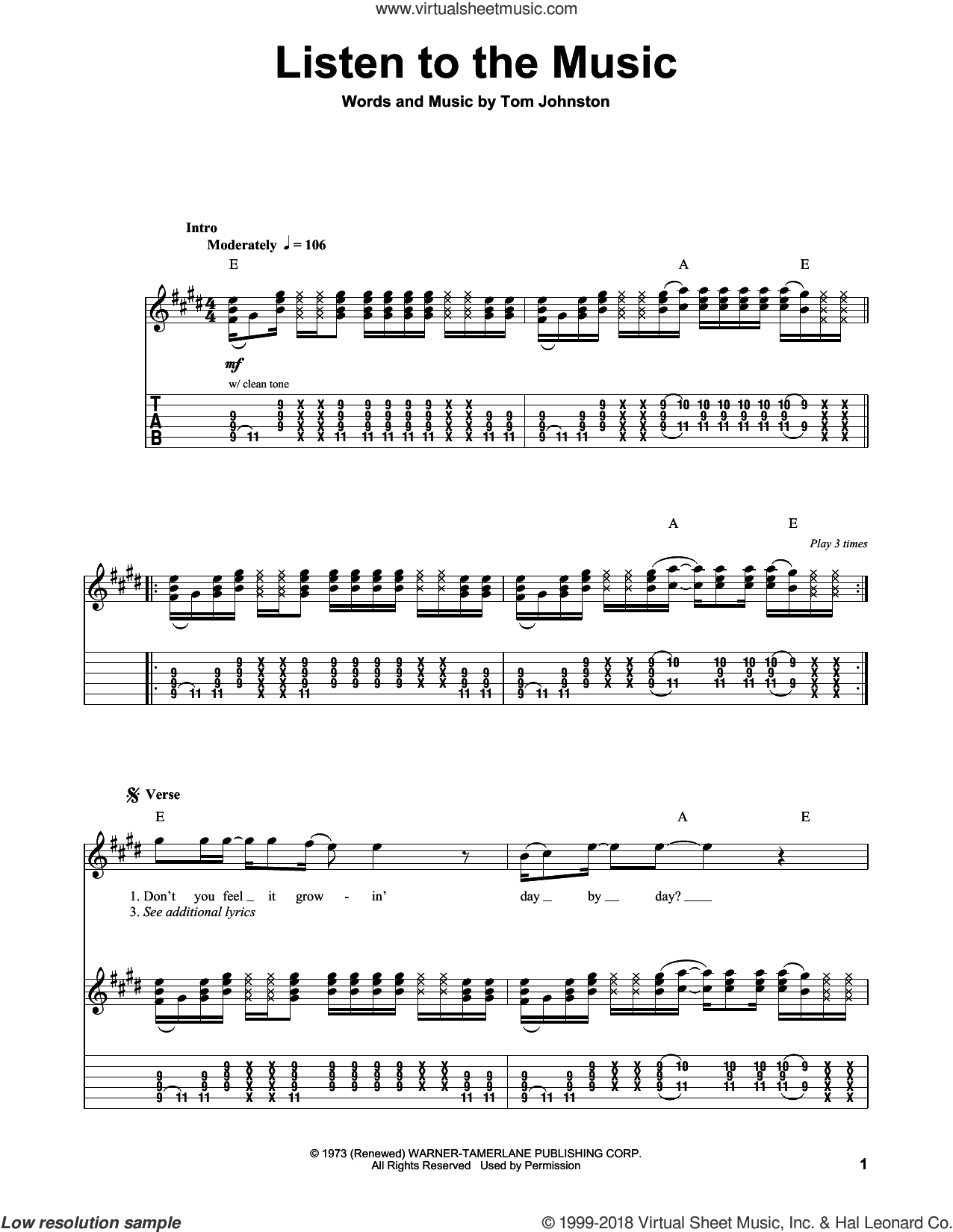 Listen To The Music sheet music for guitar (tablature, play-along) by The Doobie Brothers and Tom Johnston, intermediate skill level