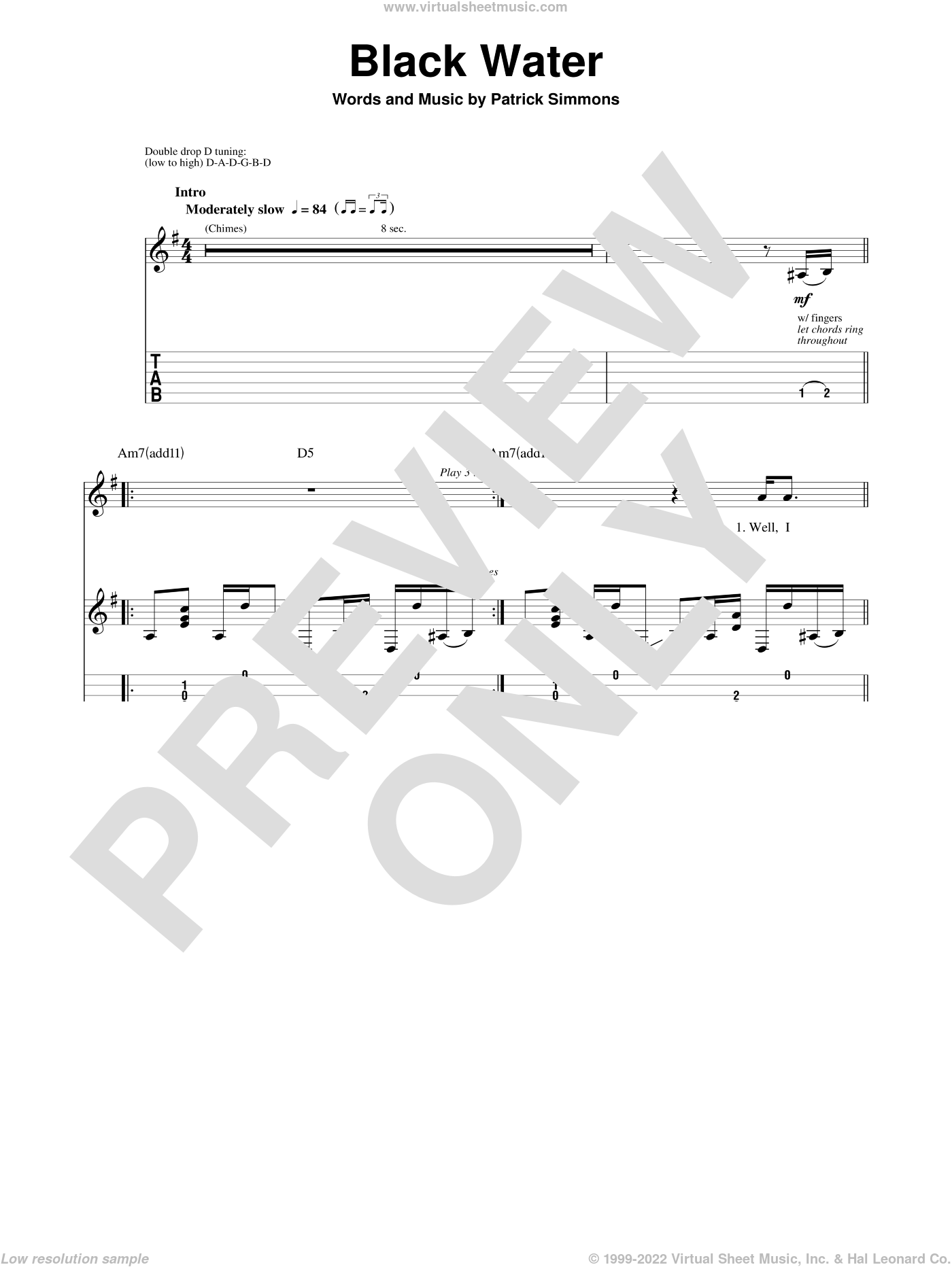 Black Water sheet music for guitar (tablature, play-along) by The Doobie Brothers and Patrick Simmons, intermediate skill level