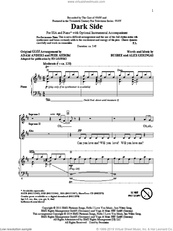 Dark Side sheet music for choir and piano (SSA) by Alex Geringas