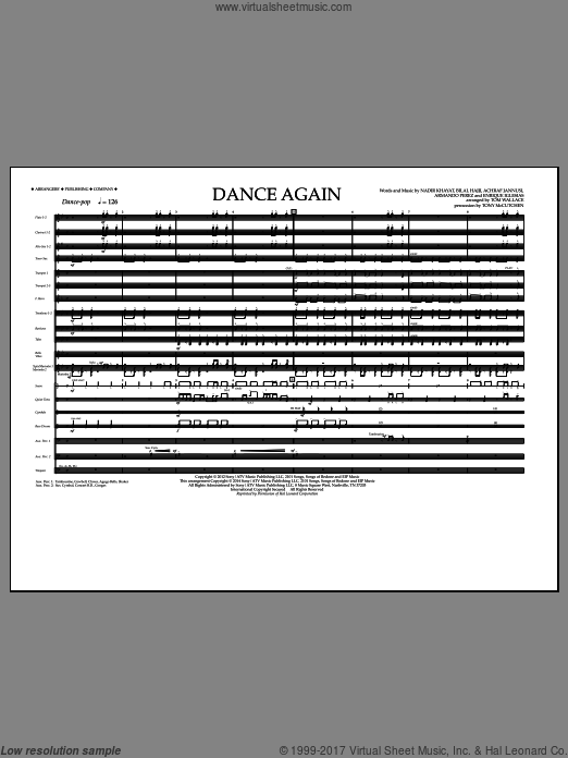 Dance Again (COMPLETE) sheet music for marching band by Nadir Khayat