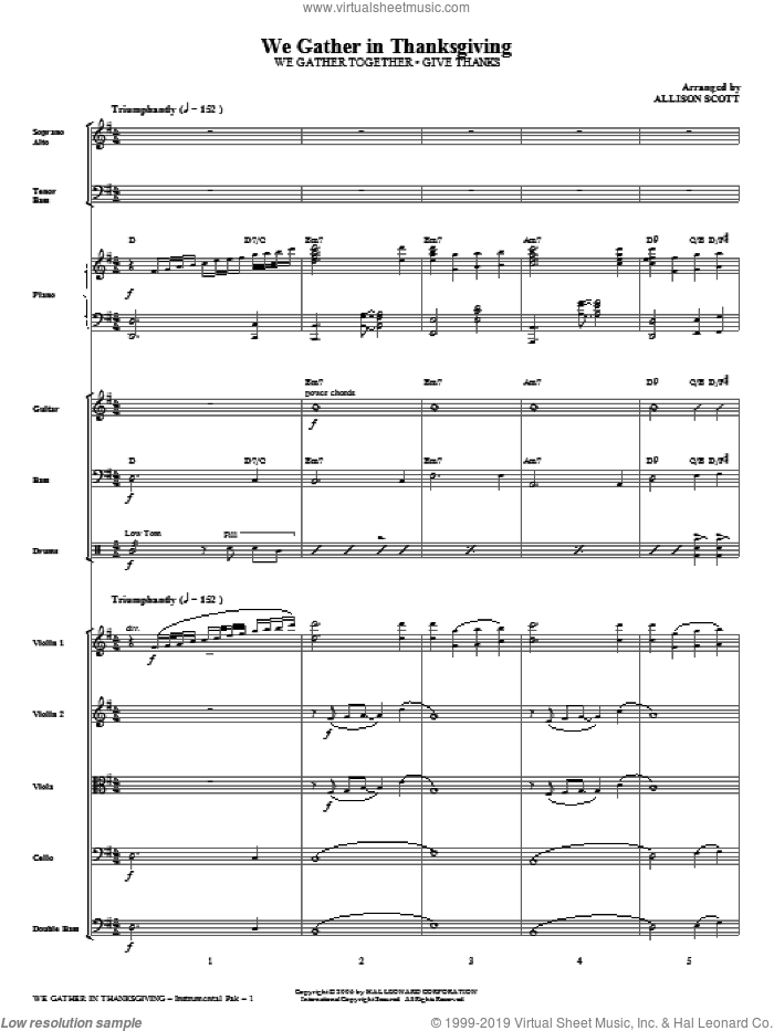We Gather in Thanksgiving (complete set of parts) sheet music for orchestra/band (Rhythm/Strings) by Henry Smith and Allison Scott, intermediate skill level