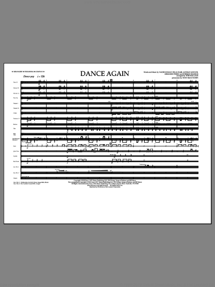 Dance Again (COMPLETE) sheet music for marching band by Tom Wallace, Achraf Jannusi, Armando Perez, Bilal Hajji, Enrique Iglesias, Jennifer Lopez, Nadir Khayat and Pitbull, intermediate skill level