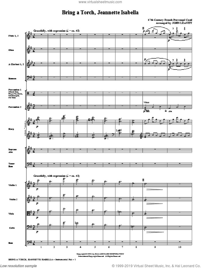 Bring A Torch, Jeanette Isabella (complete set of parts) sheet music for orchestra/band (Orchestra) by John Leavitt and Miscellaneous, intermediate. Score Image Preview.