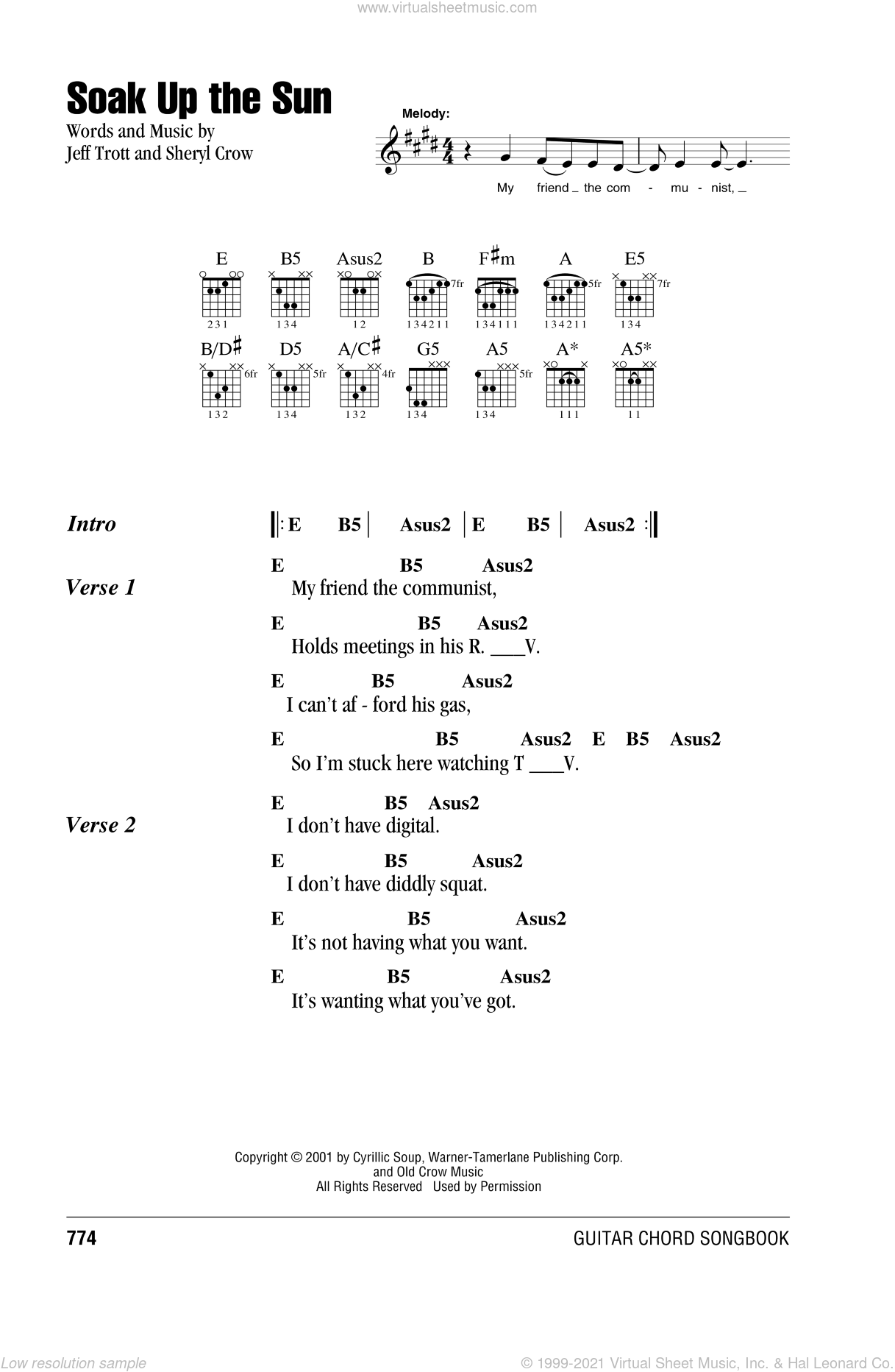 Soak Up The Sun sheet music for guitar (chords) by Jeff Trott and Sheryl Crow. Score Image Preview.
