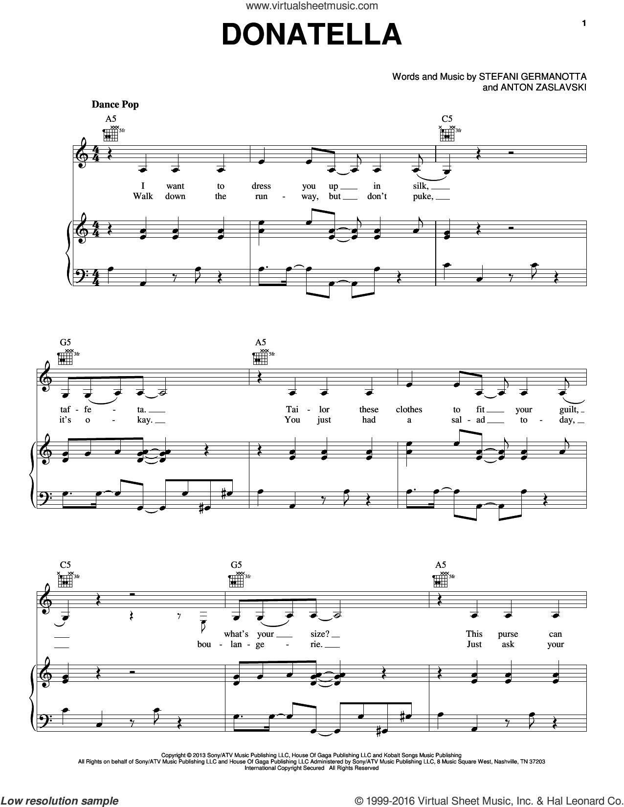 Donatella sheet music for voice, piano or guitar by Lady Gaga and Anton Zaslavski, intermediate