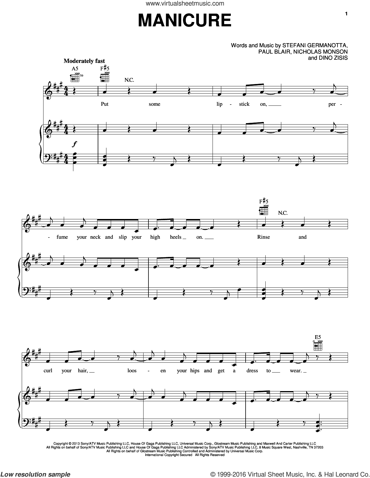 Manicure sheet music for voice, piano or guitar by Paul Blair and Lady Gaga. Score Image Preview.