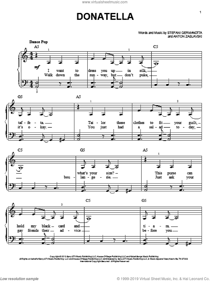 Donatella sheet music for piano solo by Lady Gaga and Anton Zaslavski, easy skill level