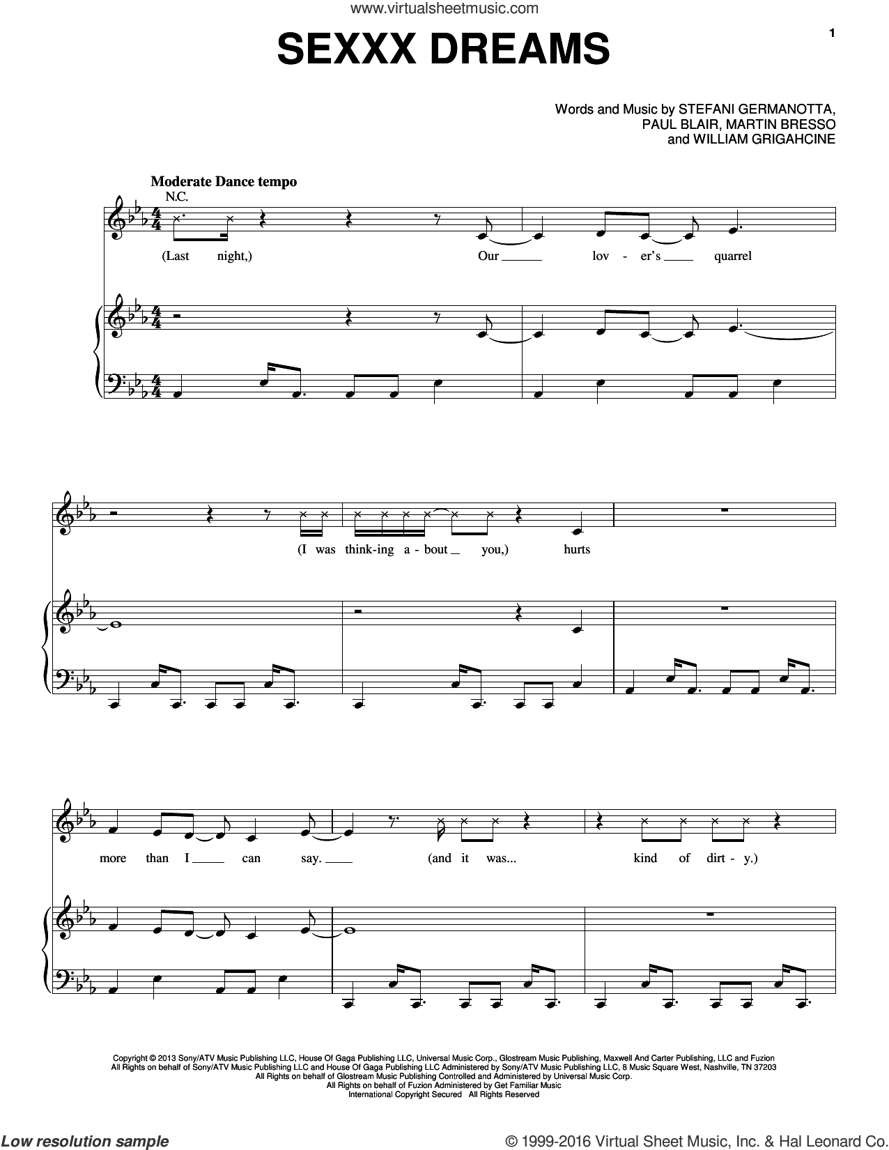 Sexxx Dreams sheet music for voice, piano or guitar by William Grigahcine, Lady Gaga and Paul Blair. Score Image Preview.