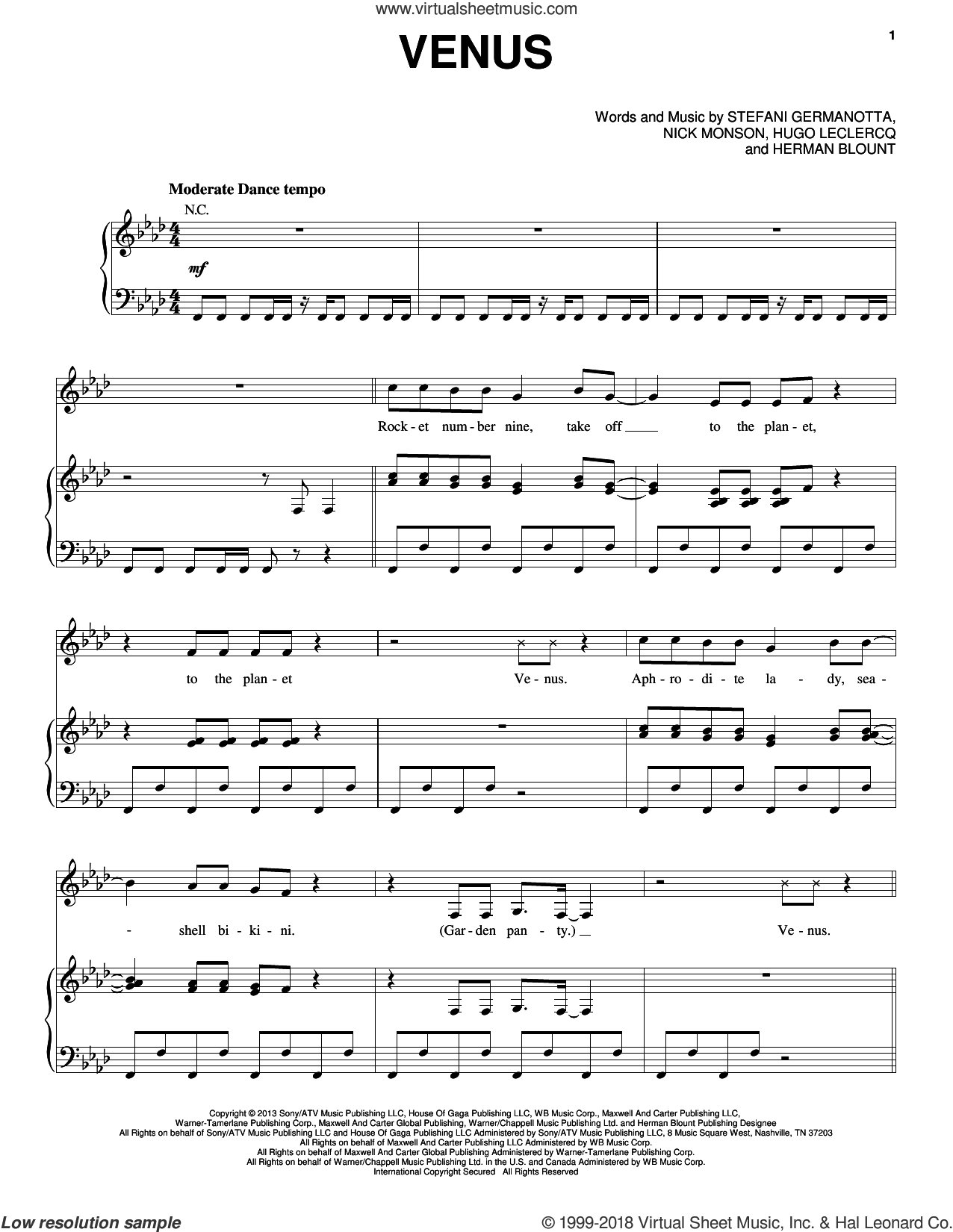 Venus sheet music for voice, piano or guitar by Lady Gaga, Herman Blount, Hugo Leclercq and Nick Monson, intermediate skill level