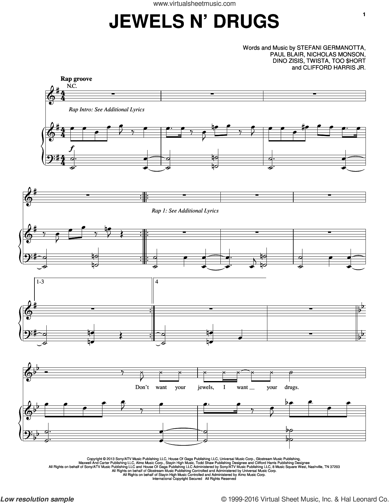 Jewels N' Drugs sheet music for voice, piano or guitar by Twista, Lady Gaga and Paul Blair. Score Image Preview.