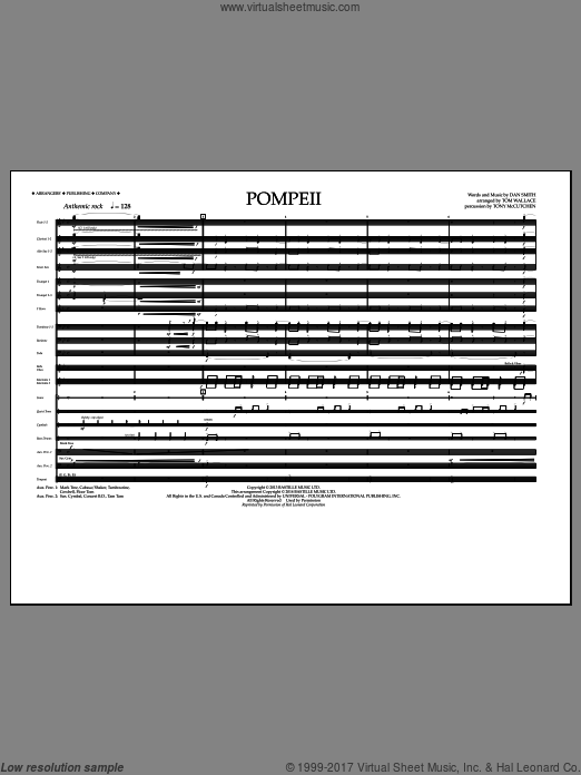 Pompeii (COMPLETE) sheet music for marching band by Dan Smith