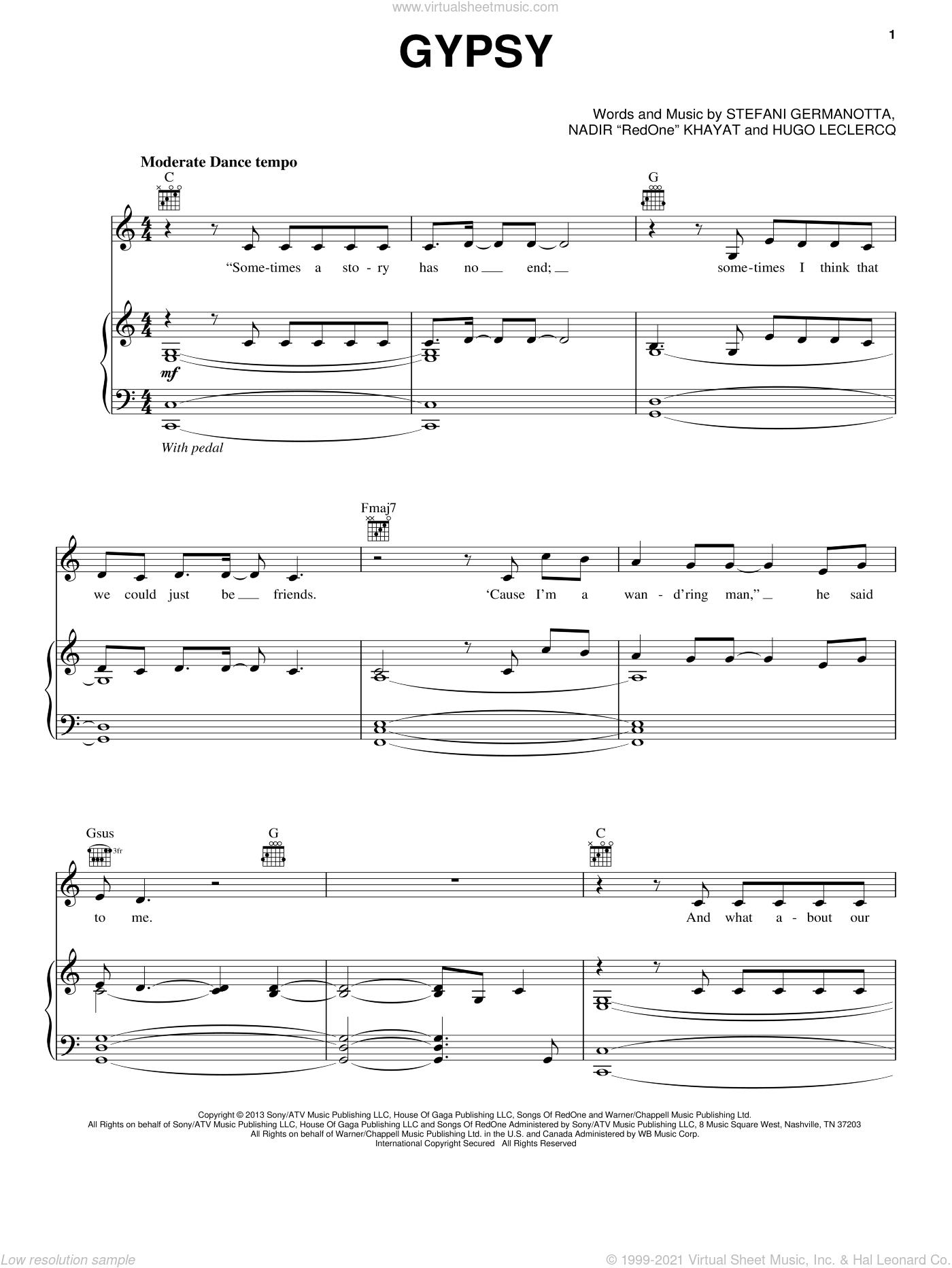 Gypsy sheet music for voice, piano or guitar by Lady Gaga, Hugo Leclercq and Nadir 'RedOne' Khayat, intermediate skill level