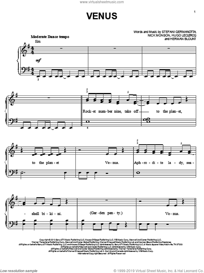 Venus sheet music for piano solo by Lady Gaga, Herman Blount, Hugo Leclercq and Nick Monson, easy skill level
