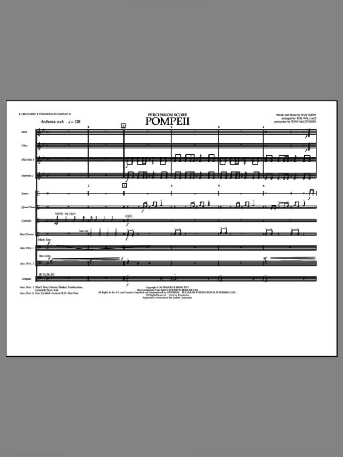 Pompeii (COMPLETE) sheet music for marching band by Bastille and Tom Wallace, intermediate marching band. Score Image Preview.