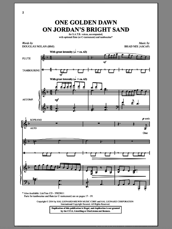 One Golden Dawn On Jordan's Bright Sand sheet music for choir (SATB) by Brad Nix and Douglas Nolan. Score Image Preview.