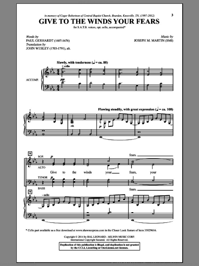 Give To The Winds Your Fears sheet music for choir (SATB: soprano, alto, tenor, bass) by Joseph M. Martin, John Wesley and Paul Gerhardt, intermediate skill level