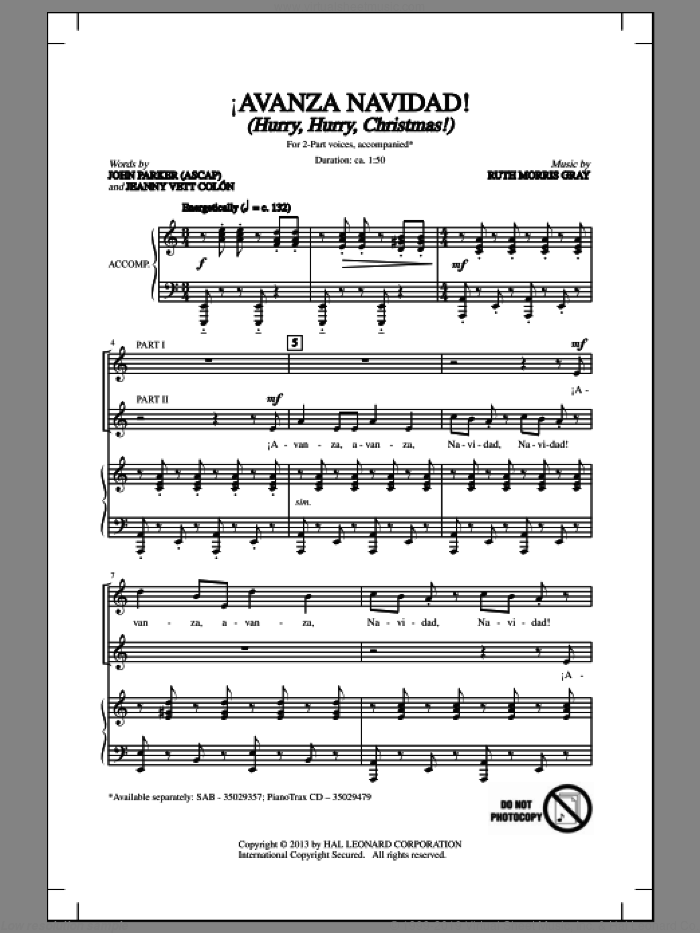 !Avanza Navidad! (Hurry, Hurry, Christmas!) sheet music for choir (2-Part) by Ruth Morris Gray, John Parker, Jeannyvett Colan and Jeannyvett Colon, intermediate duet