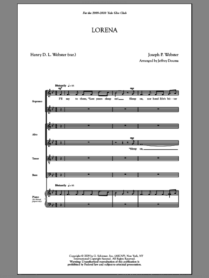 Lorena sheet music for choir and piano (SATB) by Jeffrey Douma. Score Image Preview.