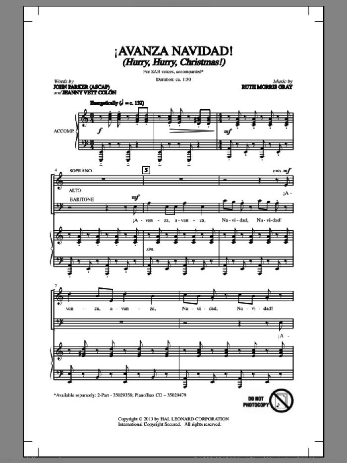 !Avanza Navidad! (Hurry, Hurry, Christmas!) sheet music for choir (SAB: soprano, alto, bass) by Ruth Morris Gray, John Parker, Jeannyvett Colan and Jeannyvett Colon, intermediate skill level