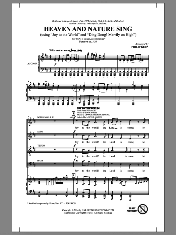 Heaven And Nature Sing sheet music for choir and piano (SATB) by Philip Kern