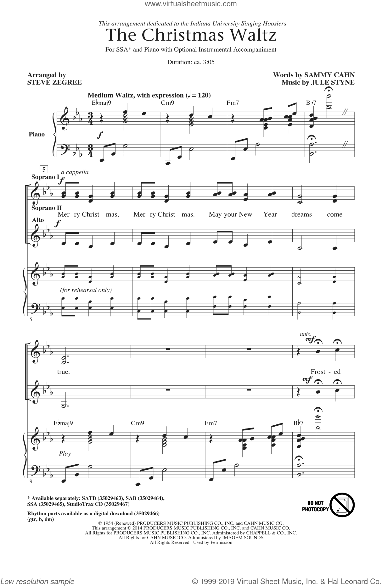 The Christmas Waltz sheet music for choir (soprano voice, alto voice, choir) by Sammy Cahn, Jule Styne and Steve Zegree. Score Image Preview.