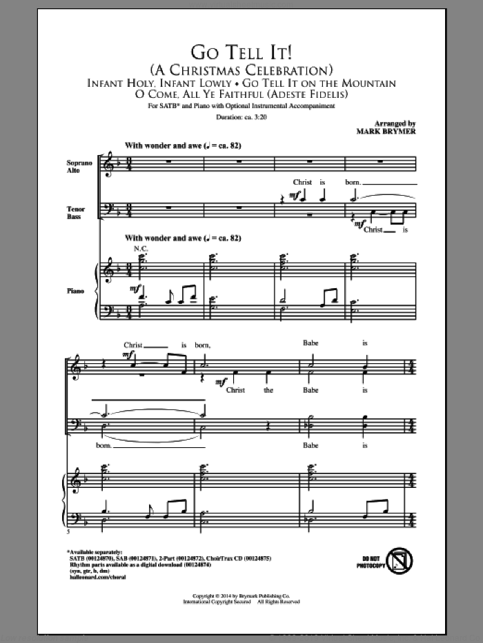 Go Tell It On The Mountain sheet music for choir (SATB: soprano, alto, tenor, bass) by Mark Brymer and Miscellaneous, intermediate skill level